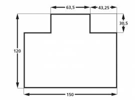 Model L 150 cm * 120 cm met lip (harde vloer)