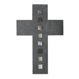 Kruisbeeld met brons en glas inleg