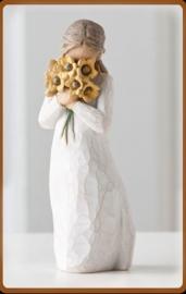 Meisje met bloemen: Warm embrace