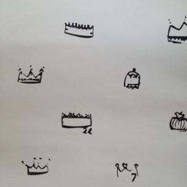 Kinderkamer Behang Kroontjes Zwart