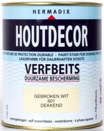 Hermadix Houtdecor Verfbeits Dekkend 601 Gebroken Wit 750 ml