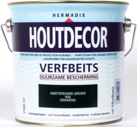 Hermadix Houtdecor Verfbeits Dekkend 632 Amsterdams Groen 2,5 Liter