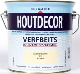 Hermadix Houtdecor Verfbeits Dekkend 601 Gebroken Wit 2,5 Liter