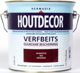 Hermadix Houtdecor Verfbeits Dekkend 633 Wijnrood 2,5 Liter