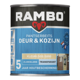 Rambo Pantserbeits Deur en Kozijn Transparant Zijdeglans Kleurloos 0000 2,5 Liter