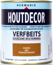 Hermadix Houtdecor Verfbeits Transparant 653 Eiken 750 ml