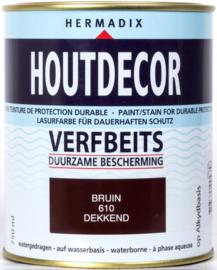 Hermadix Houtdecor Verfbeits Dekkend 610 Bruin 750 ml