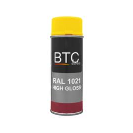 BTC Spuitbus RAL 1021 Koolzaadgeel Hoogglans 400 ml