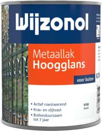 Wijzonol Metaallak Hoogglans 9100 Ijswit 750 ml