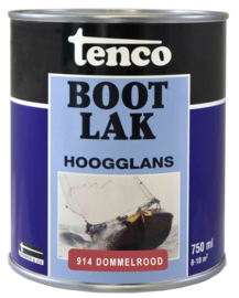 Tenco Bootlak Hoogglans 914 Dommelrood 750 ml