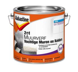 Alabastine Muurverf 2 in 1 voor Vochtige Muren en Kelders 2,5 liter