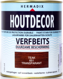 Hermadix Houtdecor Verfbeits Transparant 651 Teak 750 ml