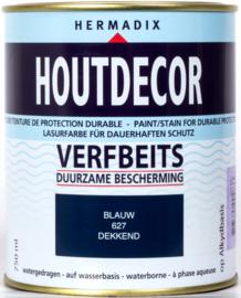 Hermadix Houtdecor Verfbeits Dekkend 627 Blauw 750 ml