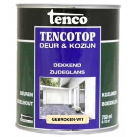 Tencotop Deur & Kozijn Dekkend Zijdeglans Gebroken Wit 750 ml