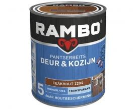 Rambo Pantserbeits Deur en Kozijn Transparant Hoogglans Teakhout 1204 2,5 Liter