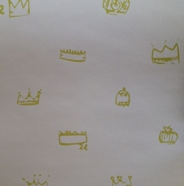 Kinderkamer Behang Kroonjes Groen