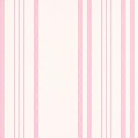 Strepen Vliesbehang wit / roze