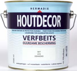 Hermadix Houtdecor Verfbeits Dekkend 619 Wit 2,5 Liter