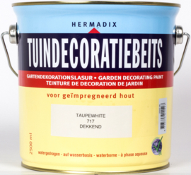 Hermadix Tuindecoratiebeits 717 Taupe  White Dekkend 2,5 Liter