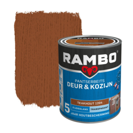 Rambo Pantserbeits Deur en Kozijn Transparant Zijdeglans Teakhout 1204 2,5 Liter