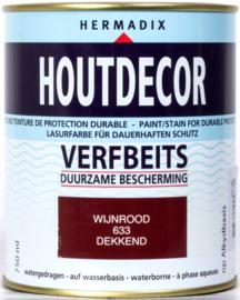 Hermadix Houtdecor Verfbeits Dekkend 633 Wijnrood 750 ml