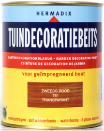 Hermadix Tuindecoratiebeits 761 Zweeds Rood Transparant 750 ml