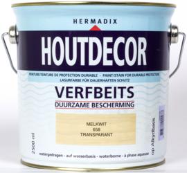 Hermadix Houtdecor Verfbeits Transparant 658 Melk Wit 2,5 Liter