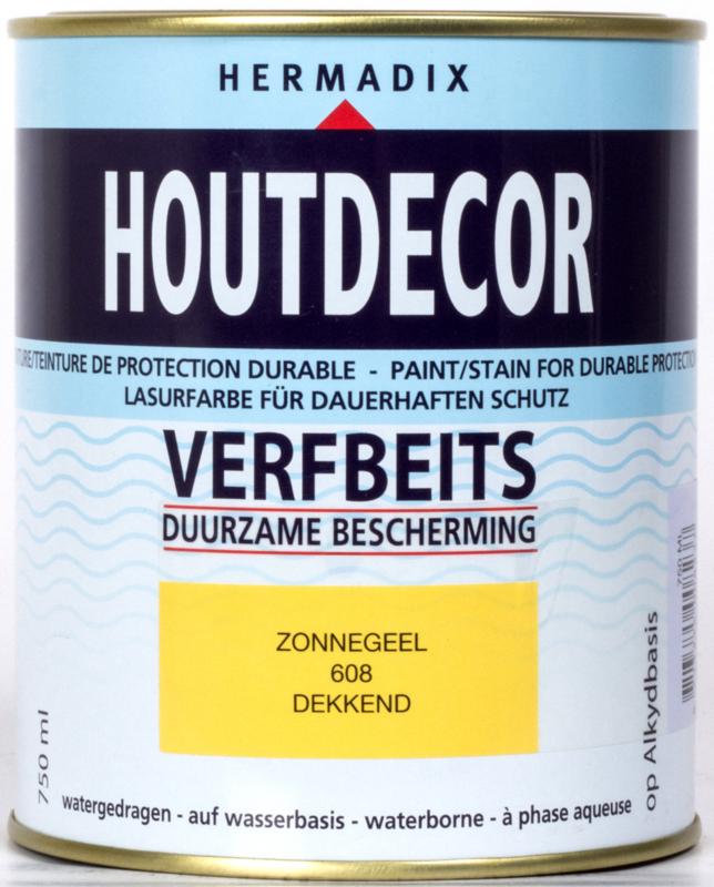 Hermadix Houtdecor Verfbeits Dekkend 608 Zonnegeel 750 ml