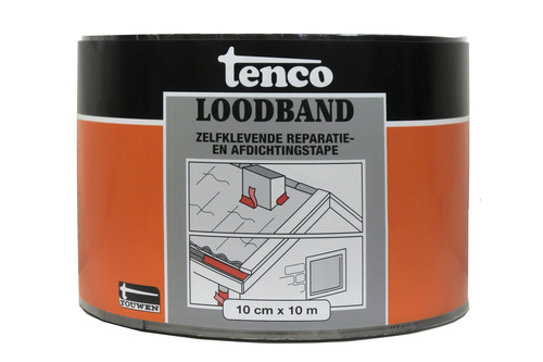 Tenco Loodband Zwart 10 cm x 10 meter