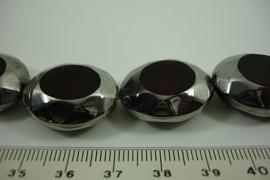 [ 6460 ] Glas kraal dik Ovaal 23 x 20 mm. Licht Bruin met Zilver rand, 14 stuks