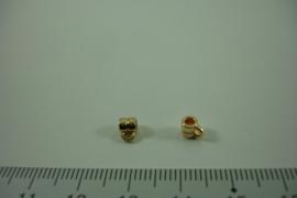 [ 1304 ] Tussen kraal 3.8 mm. breed met 1 oog, Licht Goud, per stuk
