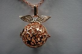 [ 6263 ] Engelroeper Hanger met Vleugels, Rosé Goud, per stuk