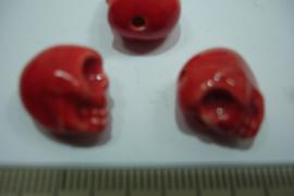 [ 0424 ] Doodshoofd Keramiek 13 mm. Rood, per stuk