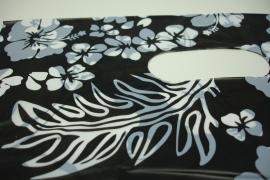 *[ 8239 ] Tas 40 x 30 cm. Zwart met Witte bloem, 100 stuks