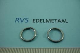 [ 8489 ]  RVS mat, Open Ring, 11 mm. x 1.2 mm.  per 32 stuks