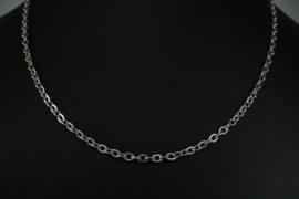 [ 8533-48 ] RVS  Platte schakel 4 x 3 mm. Ketting 48 cm.