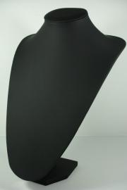 *[9045 ] Hals Punt Zwart Leer, Hoog 35 cm.