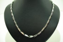 [ 8707 ] RVS: Hals ketting 55 cm. met slotje en doodshoofdje