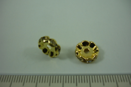 [ 1318 ] Rondel 10 mm. Goudkleur met helder kristal, per stuk