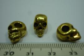 [ 0338 ] Doodshoofd kraal metaal 12 x 8 mm. Goudkleur, per stuk