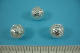 [ 6811 ] Filigrein kraaltje 10 mm. Verzilverd, per 3 stuks