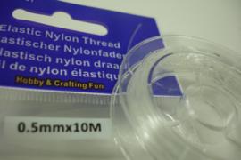 [ 7036 ] Elastische Nylon 0.5 mm.  doorzichtig, rolletje van 10 meter