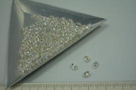 [5488 ] Twin Bead nr. 14, Cristal AB Zilverrug, +/-  125 stuks