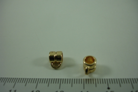 [ 1302 ] Tussen kraal  6 mm. breed met 1 oog, Licht Goud, per stuk