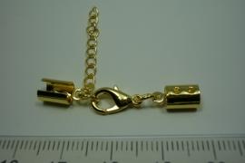[ 0819 ] Veterklem 8 x 5 mm. met slot en verleng ketting, Goudkleur, per set