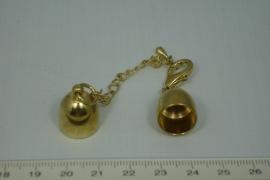 [0444 ] Inlijmkap 12 mm. met slot, Goudkleur, per set