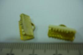 [ 6395-B ] Lintklemmen 13 mm. Goud kleur, per 8 stuks