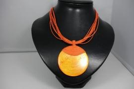[ OR,043 ] Oranje Schelp ketting