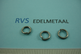 [ 8488 ]  RVS mat, Open Ring 7.3 mm. x 1.2 mm.  per 38 stuks