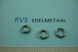 [ 8488 ]  RVS mat, Open Ring 7.3 mm. x 1.2 mm.  per 38 stuks